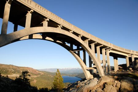 Bridge on old road at Donner Pass, overlooking Donner Lake, Sierra Nevada, California Stock Photo