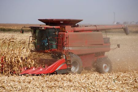 san joaquin valley: Combine harvesting corn, San Joaquin Valley, California