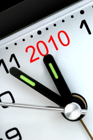 Closeup of Clock Hands, Five Minutes to Midnight and The Year 2010 Stock Photo - 4367406