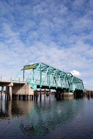 california delta: Rural bridge over Turner Cut, Agricultural Area, San Joaquin Delta, California Stock Photo