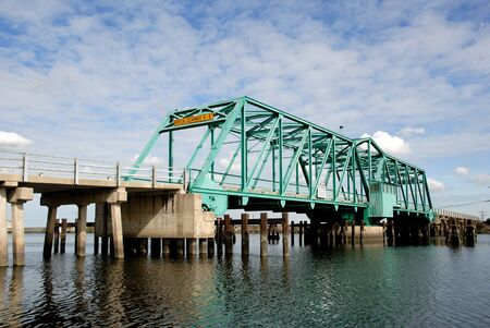 Rural bridge over Turner Cut, Agricultural Area, San Joaquin Delta, California Stock Photo