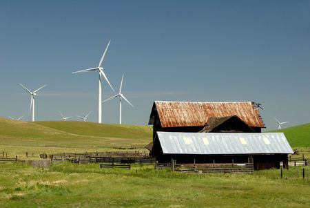 energies: Turbines on Rolling Hills of Green and Ranch Old Barn Wildflowers, Rio Vista, California