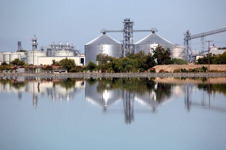 ethanol: Reflection of ethanol production plant.