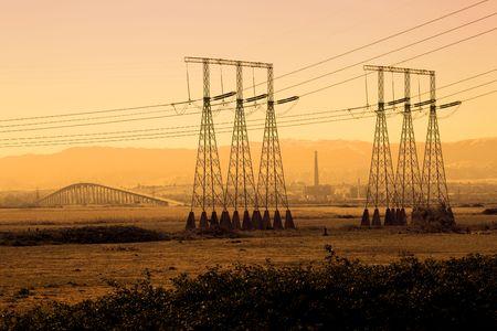 california delta: Power lines silhouetted over San Joaquin Delta, California.