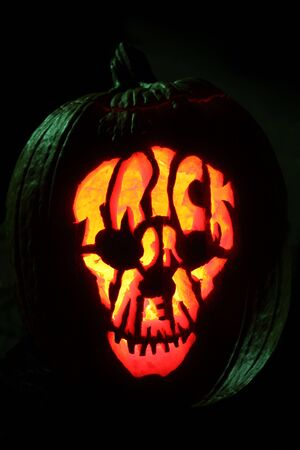 Halloween pumpkin carved into Jack O Lantern trick or treat skull pattern under green top light.