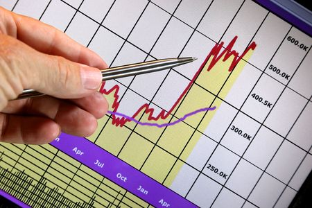 Financial chart on computer monitor, market's rising, hand and pen pointer Stock Photo - 6122537