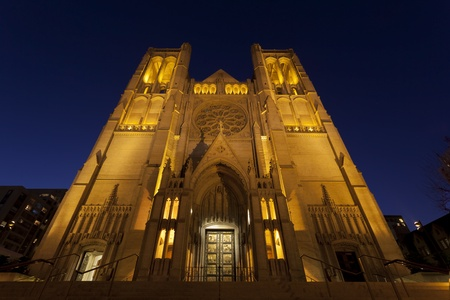 nob hill: Night exterior, Grace Cathedral, San Francisco, California