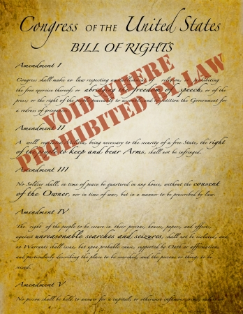 bill of rights: A copy of the United States Bill Of Rights voided by law