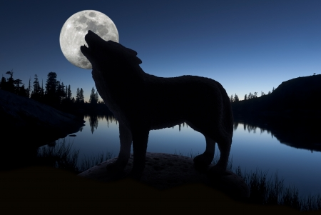 Silhouette of howling wolf against forest skyline, still lake, and full moon.