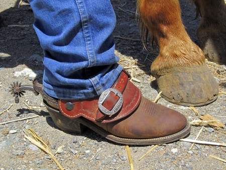 Cowboy boots, rusty spurs, and horses hooves, on dirt and straw ranch background.