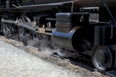 linkage: Drivers, linkage, and valve box on antique steam locomotive  Stock Photo
