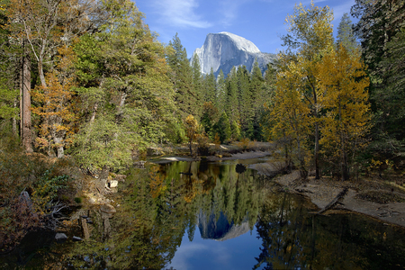 merced: Fall view of Merced River, Half Dome, Yosemite Valley