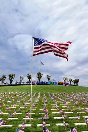 national military cemetery: Headstones and Flags at National Military Cemetery, including American Flags and National Flags from other Nations Stock Photo