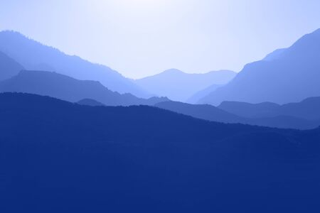 mountain ranges: Several layers of mountain ranges stacked in blue silhouette.