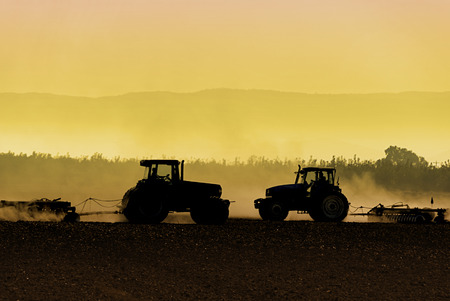 Muted, yellow, backlit silhouette of tractors raking soil