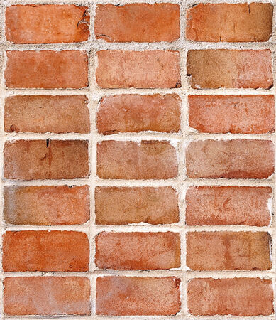 Red brick wall section, use as stand alone image or perfectly repeating tile background. Banco de Imagens