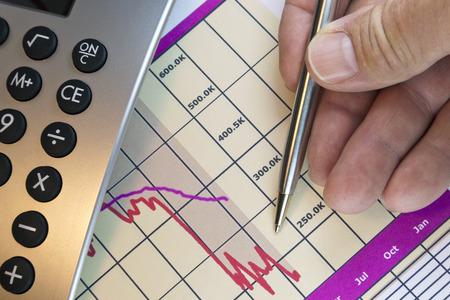 Line chart graphic of monthly financial account,  pen,  hand, closeup desktop view.