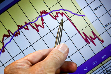Chart graphic of financial statistics, markets falling, hand and pen indicating change of direction. Stock Photo