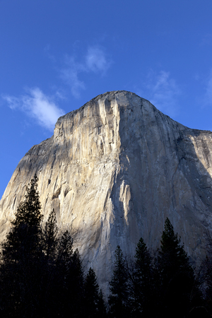 The Nose of El Capitan, Yosemite National Park, blue sky, end of day lighting