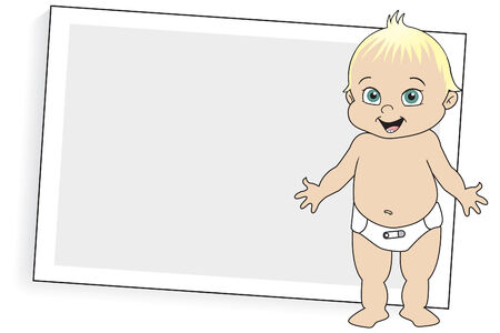 outstretched: Blonde Baby in Diaper Illustration