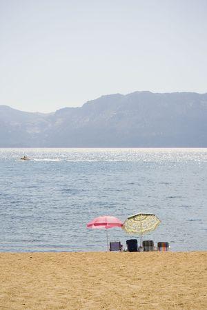 View of lake from beach at Lake Tahoe