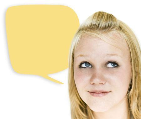 Girl looking upward with speech bubble on her right
