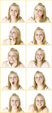 Young Girl with many expressions