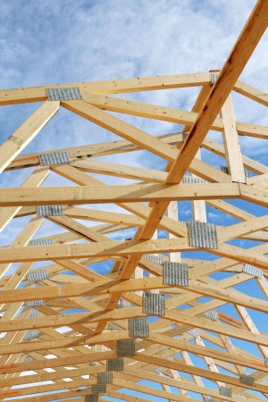 View of Unsheeted Rolled Trusses showing the Open Sky Stock Photo
