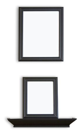 Description: Black Picture Frames stacked one above the other with a blank inside for your images or text.