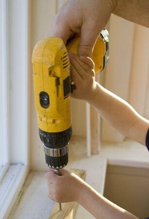 Helping Dad Drill