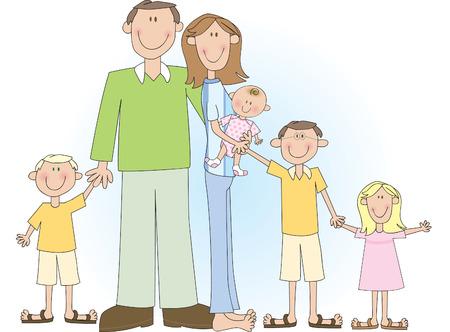 Een cartoon vector tekening van een groot gezin met vader, moeder, twee jongens en twee meisjes.