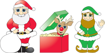 Cartoon vector drawings of Santa Claus, a reindeer and an elf created using bright solid Christmas colors. Illustration