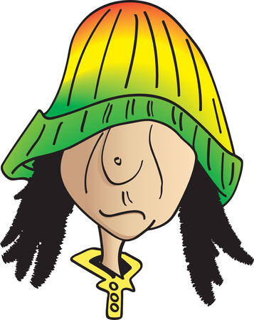 laziness: Vector Illustration of a Guy in a red, yellow & green beanie