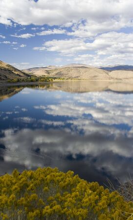View towards the north from Tapaz Lake, on the borders on California & Nevada. Stock Photo