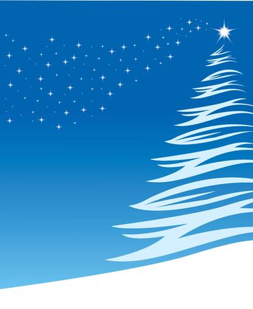 Illustration of a pine tree in the snow with a star lighting the top on a blue background. Plenty of room for copy to the left of the tree. Stock Photo