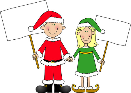Cartoon of young boy and girl dressed in Santa Claus & Elf suits holding signs. Illustration