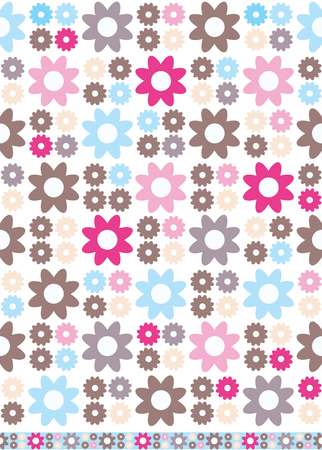 Retro-styled seamless floral background with matching trim strip. Illustration