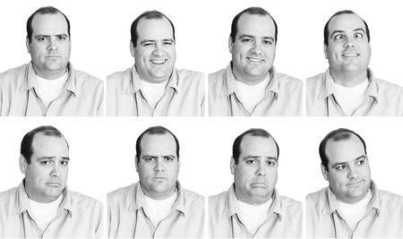 Many Expressions from mid-thirties Man Stock Photo