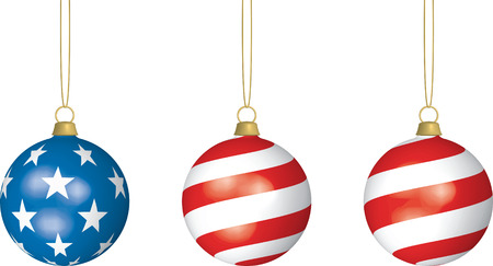 3D illustration of three American Flag-themed Christmas Bulbs hanging from thin strings on white background. Illustration
