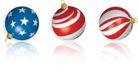 3D illustration of three American Flag-themed Christmas Bulbs with reflection on white background.