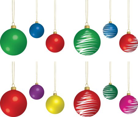 3D Rendering of assorted solid and patterned Christmas bulbs.