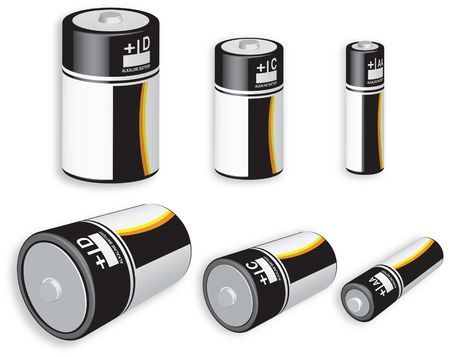 3D rendering of three different battery sizes isolated on white background
