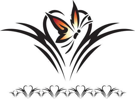 Graphic illustration of a silhouette of a butterfly against a heart background. 向量圖像