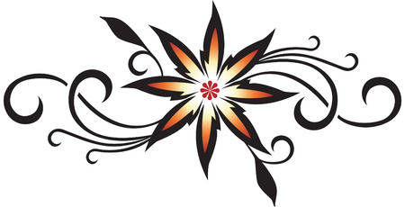 flower tattoo: Sharp vector design with swirling leaves and patterns.