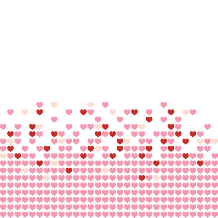 Colored hearts in a mosaic-style pattern. Vector