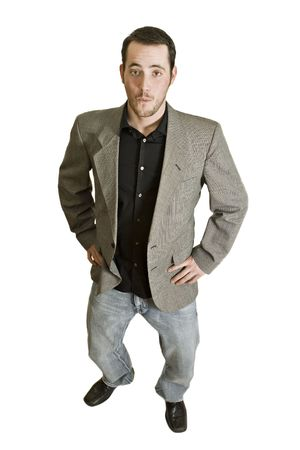 Surprised businessman with a casual sport jacket and jeans isolated on white.