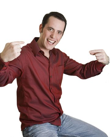 Young man pointing to himself isolated on white.