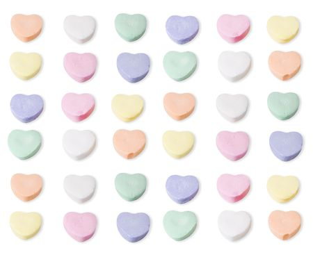 Assorted colors of blank candy hearts. path is included in the file. Stock Photo