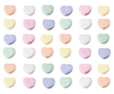 Diverse kleuren van blanco snoep harten. Clipping pad is opgenomen in het bestand. Stockfoto