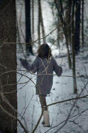 girl in forest, winters tale, winter walk in the woods